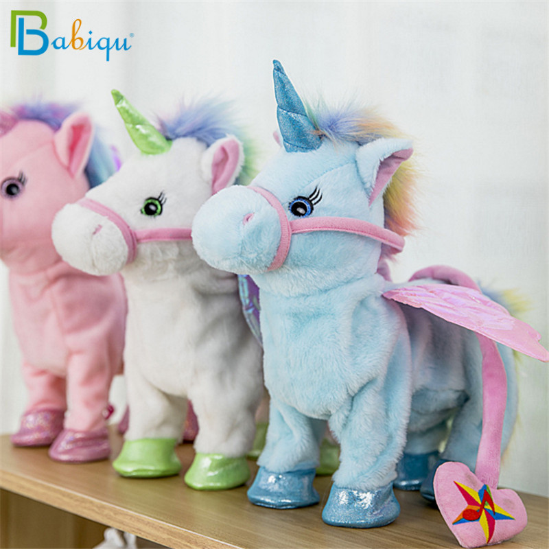Babiqu 1pc Electric Walking Unicorn Plush Toy Stuffed Animal Toy Electronic Music Unicorn Toy for Children Christmas Gifts 35cm 4