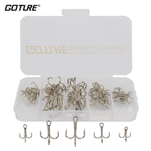Goture 50pcs box High Carbon Steel Fishing Hook Size 2 4 6 8 10 Fishhooks Silver