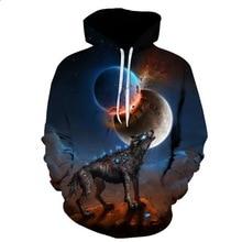2019 Wolf Hoodies Men/Women 3d Sweatshirts With Hat Print  Moon Thin Hooded Hoody Tops Streetwear