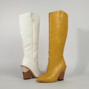 Image 3 - สีดำสีเหลืองสีขาวเข่าสูงรองเท้าบูทคาวบอยตะวันตกสำหรับผู้หญิง Winter BOOTS รองเท้าผู้หญิง Pointed Toe รองเท้า Cowgirl 2019