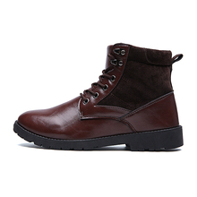 2016 New Fashion Brand Men's Martin Boots Casual Leather Shoes High Top Men Flats Ankle Boots Lace Up Shoes Mens Hombres Botines
