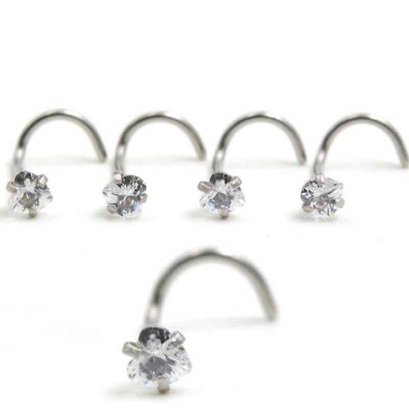 2Piece 20Gx7x3mm Stainless Steel Heart Zircon Twist Screw Nose Ring Ear Cartilage Wrap Ring Love Tragus Earring Piercing Jewelry