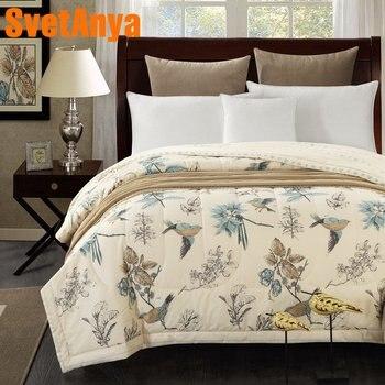 Svetanya хлопковое покрывало Американский пастырской птица печати бросает одеяло летние тонкие stiching одеяло заполнения
