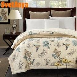 Svetanya Cotton Bedspread American Pastoral  Bird print Throws Blanket summer thin Comforter stiching Duvet Quilt Filling