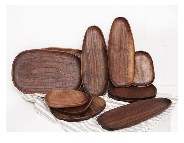 Whole Wood Black Walnut with Irregular Oval Wood Pan Plate Fruit Plate Saucer Tea Tray Dessert Plate 5