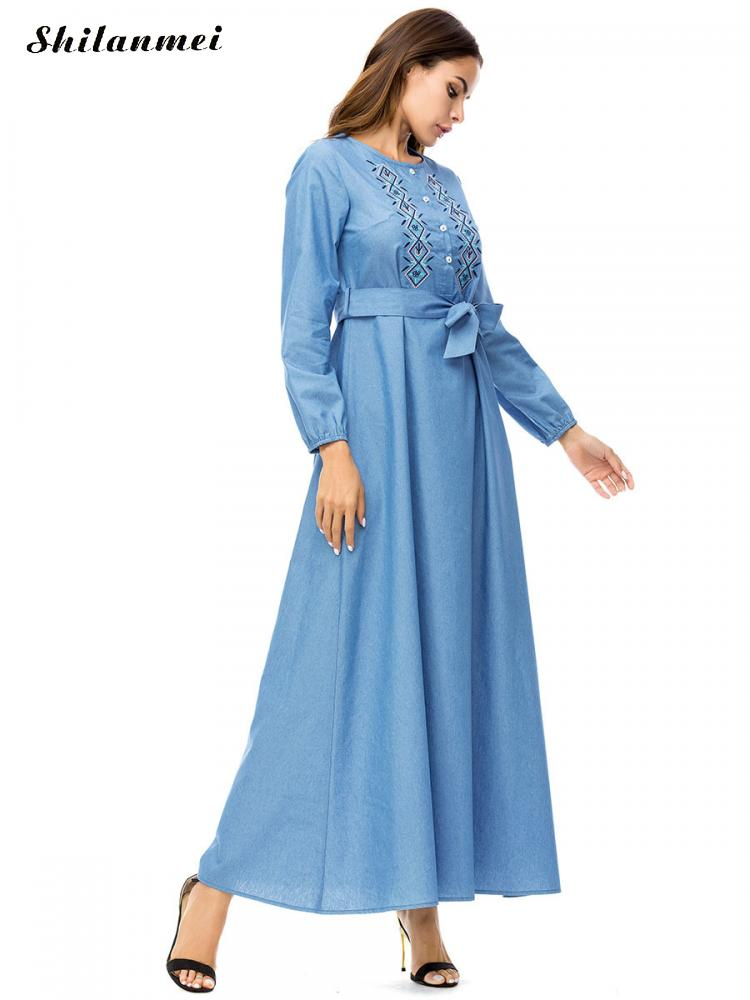 Vintage Long Sleeve Long Blue Denim Dress Belted Embroidery Plus Size Jeans  Dresses For Dubai Kaftan Anarkali Abaya Muslim Abaya-in Islamic Clothing  from ... bd3a39e3e60a