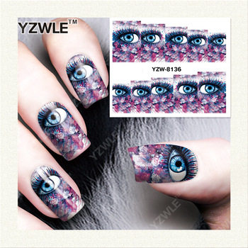YZWLE 1 Sheet DIY Decals Nails Art Water Transfer Printing Stickers Accessories For Manicure Salon YZW-8136