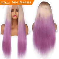 Ombre Фиолетовый цвет синтетические волосы на кружеве натуральные волосы парики прямые Блондинка корень фиолетовый Glueless Кружева передние па
