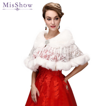 MisShow Cheap Wedding Shawl Shrug Faux Fur Wrap Ivory White Wedding Bolero 2017 Fur Coat Cape Wedding Accessories Bridal Jacket цена