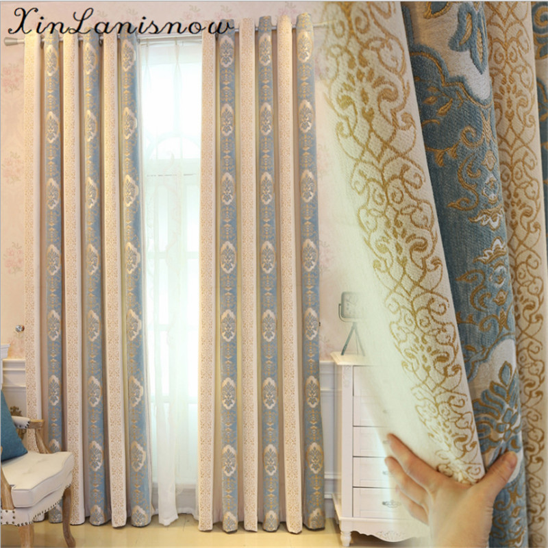 Chenille Jacquard Curtain Fabric Thick European Bedroom Living Room High Shade Products