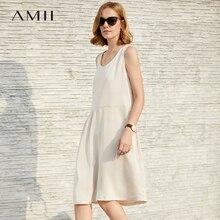 Amii Women Minimalist 2018 Summer Dress Elegant Office Lady Chic Sleeveless Female Dresses