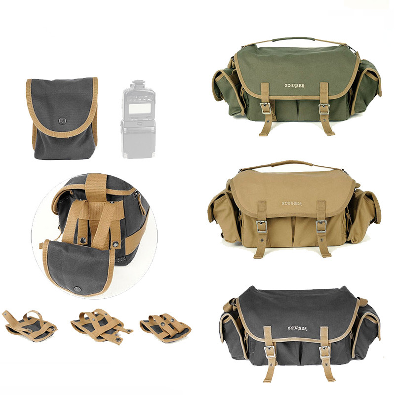 High capacity Canvas Waterproof Shoulder Bag DSLR Camera Photo Shoulder Messenger Bag with Paitition Padded Outdoor