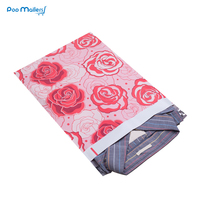 100pcs 25.5x33cm 10x13 inch Rose Love pattern Poly Mailers Self Seal Plastic Envelope Bags