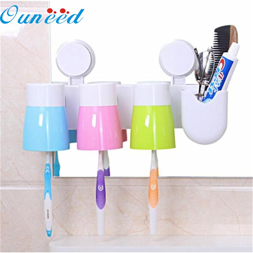 2017 hot sale Creative Paste Tumbler 3pcs Set Toothbrush Hol Cer Toothbrush Cup #0718 C