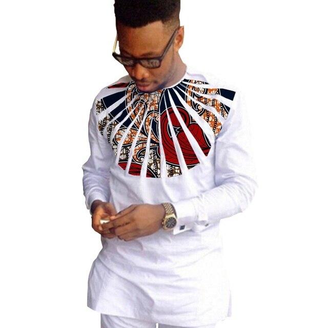 African fashion shirts men ankara print long sleeve dashiki shirts white cotton and wax patchwork o-neck top of africa clothing 5