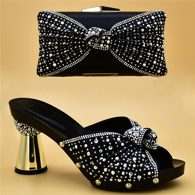 Italian Shoe and Bag Set for Party In Women Matching Shoe and Bag Set Decorated with Rhinestone Designer Shoes Women Luxury 2018