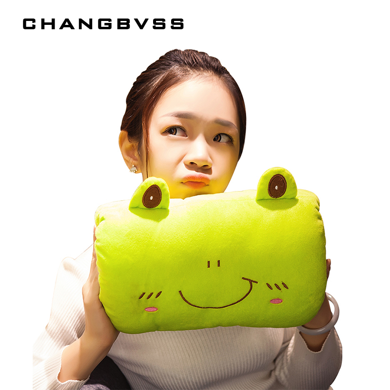 Cheap Cute Animals Design Frog Bear Pig Hand Warmer Plush Warm Handbags Double Intervene Pillow Plush Toys Children Dolls 2018 huge giant plush bed kawaii bear pillow stuffed monkey frog toys frog peluche gigante peluches de animales gigantes 50t0424