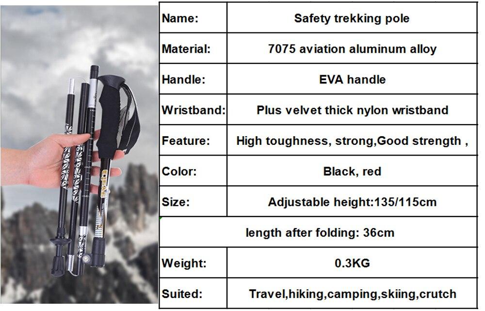 Dobrável 5 seção Nórdico Escalada Esqui Pólo bengala Liga de Alumínio