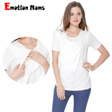 Emotion Moms Modal Summer Maternity Clothes Short sleeve T-shirt Breastfeeding tops for Pregnant Women Nursing