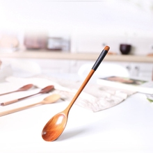 10pcs/lot DIY handmade wooden spoon Soup Spoons Kitchen Dining & Bar Old paint long handle creative coffee children spoons