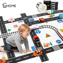 11pcs Road Set Railway Road Washi Tape Sticker Wide Creative Traffic Road Adhesive Masking Tape Scotch Road for Kid Toy Car Play