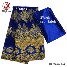 Millylace Tela de encaje para fiestas, tejido de bordado africano, francés y coral, con cuentas, ELW 30, de alta calidad, para bodas