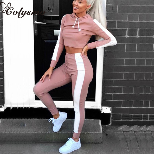 698a61e8df0 Colysmo Two Piece Set Top And Pants 2 Piece Set Women Sets Clothes Fitness Tracksuit  Outfits Hooded Cropped Tops Winter Pants