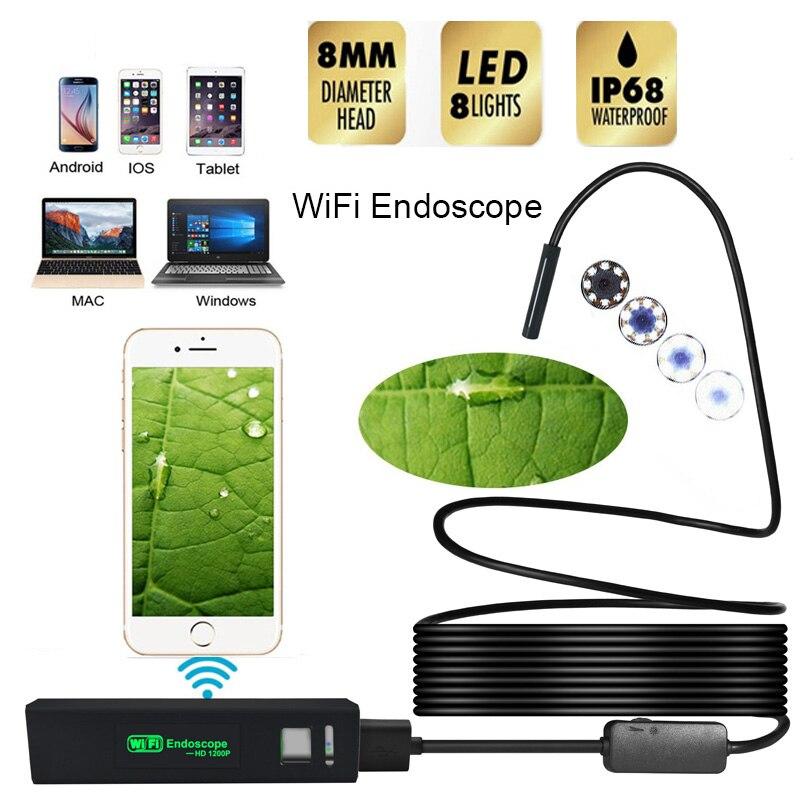 LETIKE Wifi Endoscope HD 1200P Camera USB IP68 Waterproof Borescope Semi Rigid Tube Wireless Video Inspection for Android/iOS
