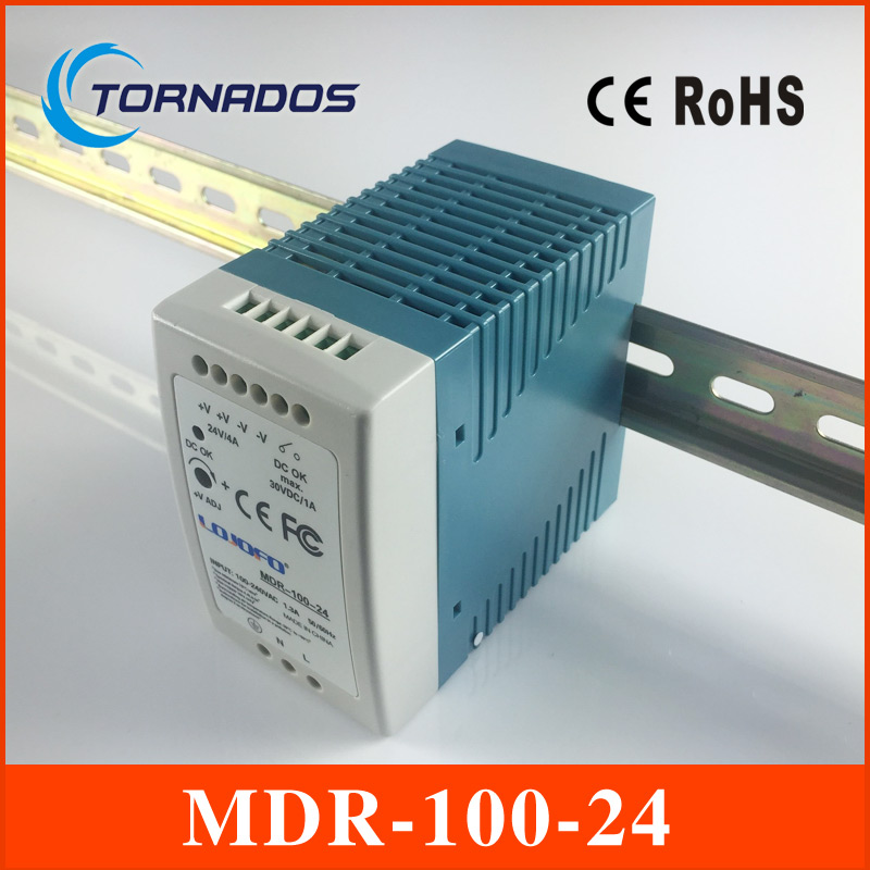MDR-100-24 Industrial DIN rail Mini switching power supply for LED driver 24v 4A 96W AC85-264V to DC 24V ac-dc driver