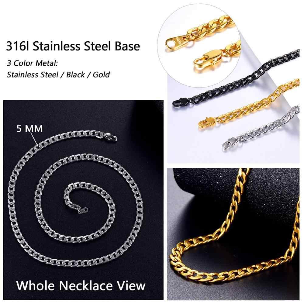 U7 kubański złoty kolor łańcuch dla mężczyzn Hip Hop biżuteria hurtowych 5MM czarny łańcuszek ze stali nierdzewnej naszyjnik łańcuch N396