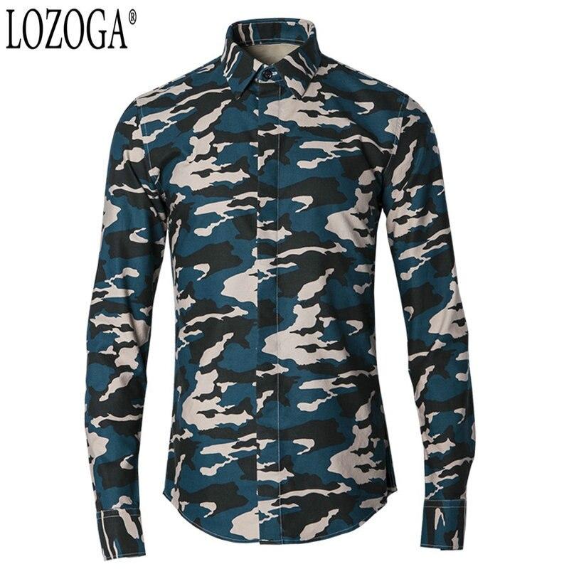 LOZOGA hommes chemises Style militaire Design à manches longues Camouflage imprime chemise mince 2019 nouvelle marque de luxe chemises décontractées taille 38-48