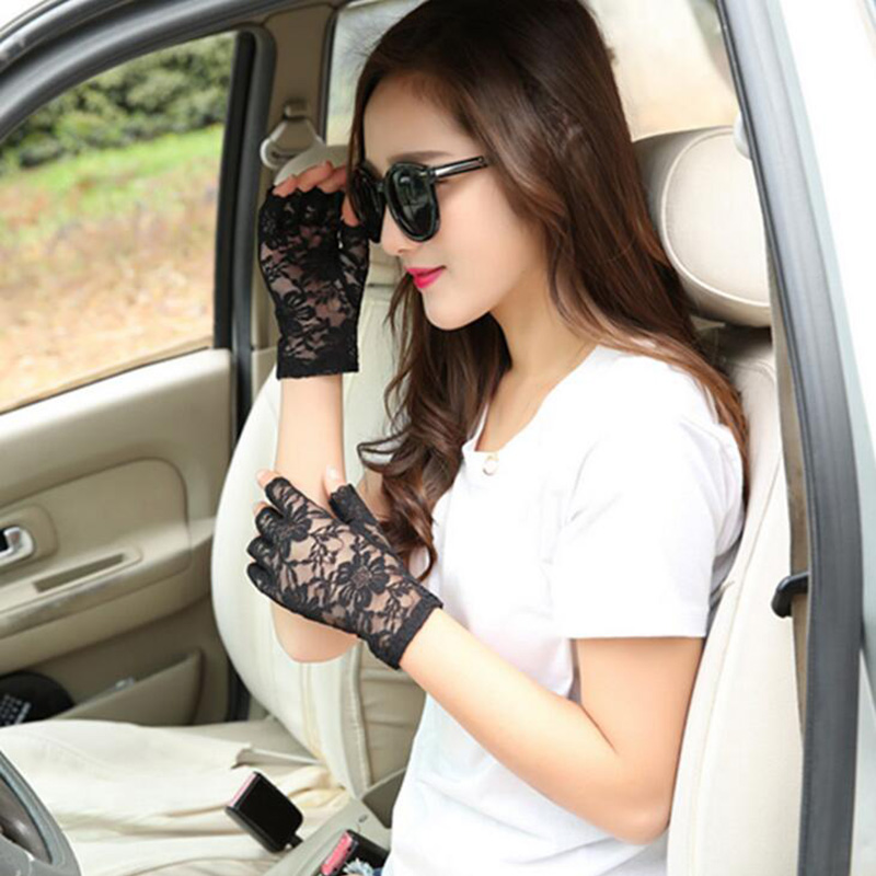 Fashion Sexy Summer Female Half Finger Sunscreen Short Lace Gloves Women Sun Protection Driving Rose Flower Pattern Gloves L25