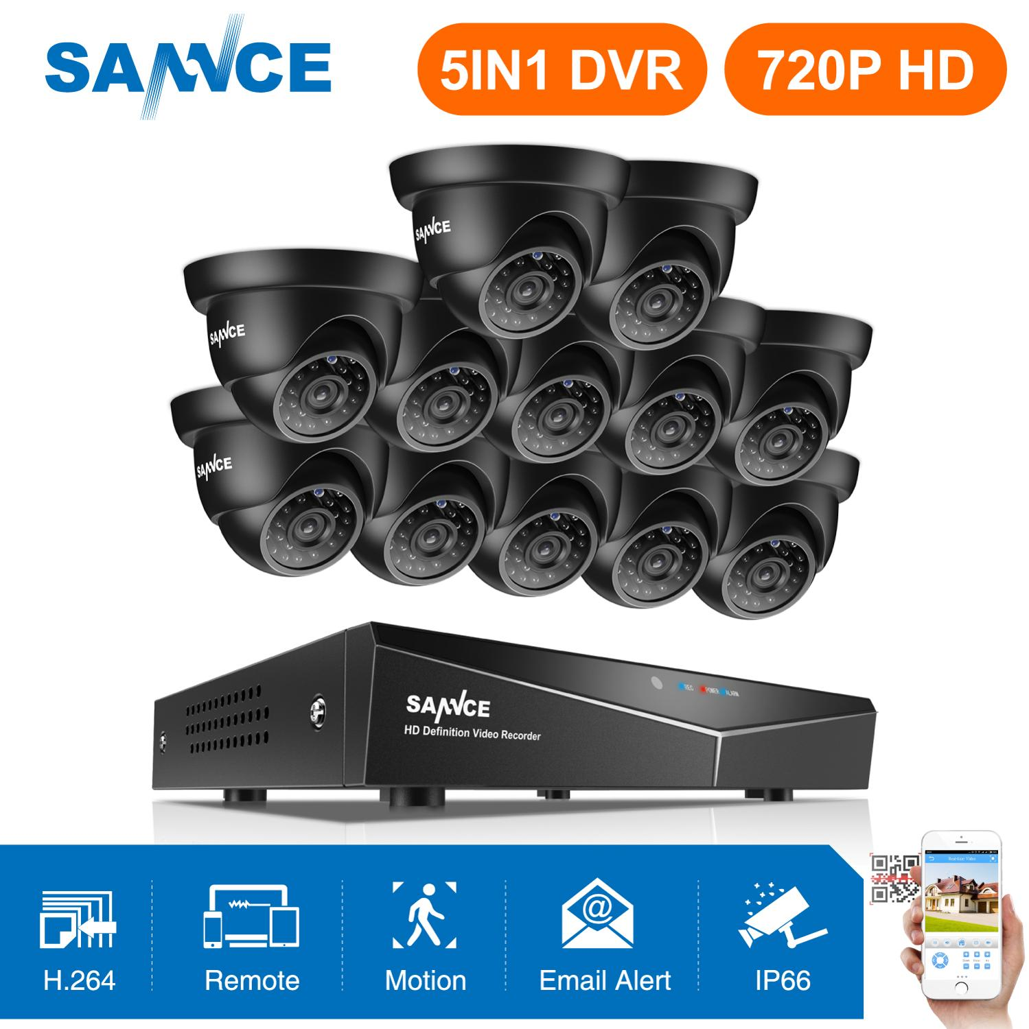 SANNCE 16CH 1080N Home Video Security System 5IN1 DVR HDMI With 12X 720P Outdoor Weatherproof TVI Smart IR Dome Camera CCTV KitSANNCE 16CH 1080N Home Video Security System 5IN1 DVR HDMI With 12X 720P Outdoor Weatherproof TVI Smart IR Dome Camera CCTV Kit