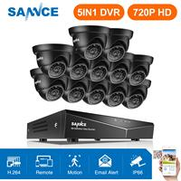 SANNCE 16CH 1080N Home Video Security System 5IN1 DVR HDMI With 12X 720P Outdoor Weatherproof TVI Smart IR Dome Camera CCTV Kit