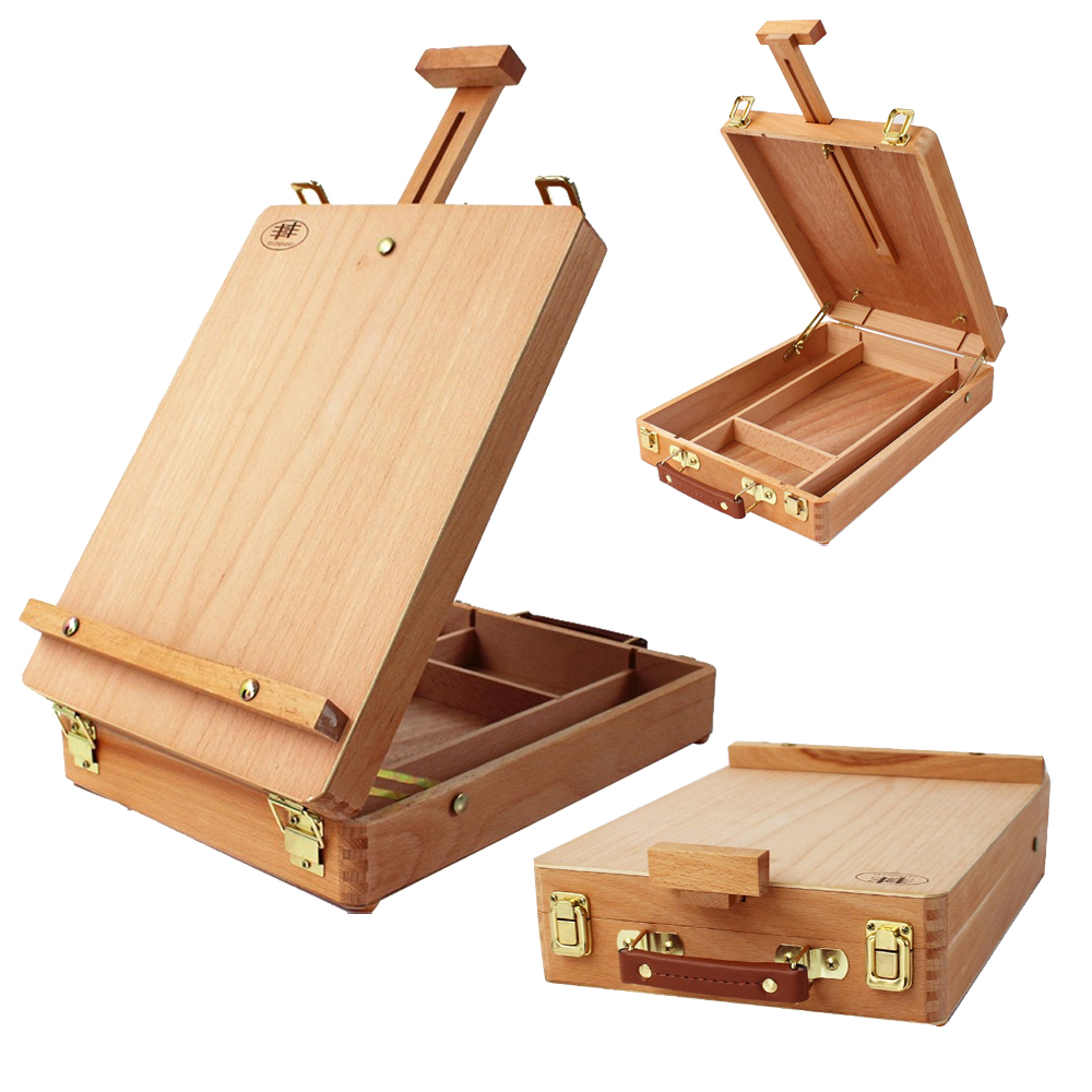 Portable Drawing Table Paint Box Wooden Easel Box For Paintings Oil Painting Box Easel italian red elm oil box new four feet easel multi function easel with oil painting box made by natural red ju wood
