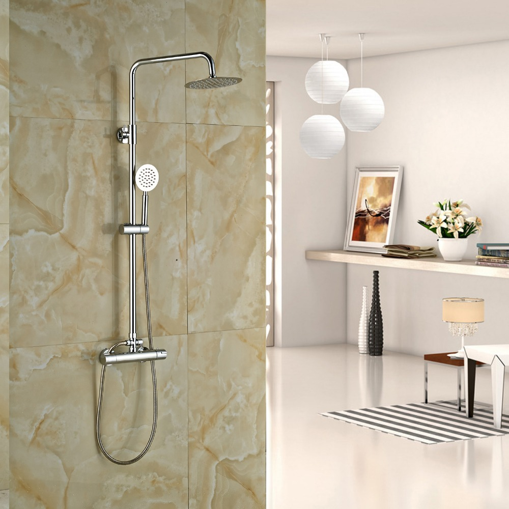 Wall Mounted Thermostatic Shower Faucet Set Chrome Finished 8 Shower Head With Hand Shower wall mounted thermostatic shower faucet 2