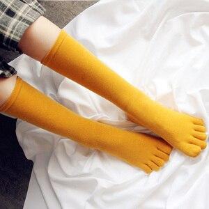Image 2 - 4 accoppiamenti Delle Donne Five Finger Calze E Autoreggenti Cotone di Medio Alta Calze E Autoreggenti 5 Dita Dei Piedi Elastico Calze E Autoreggenti