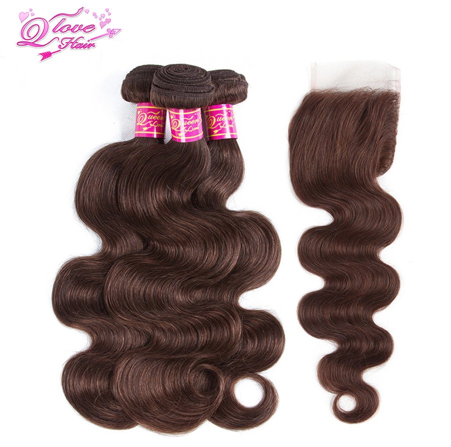 Queen Love Hair Pre-colored Malaysia Body Wave Non Remy 100% Human Hair 3 Bundles With Closure #4 Color Hair Extension