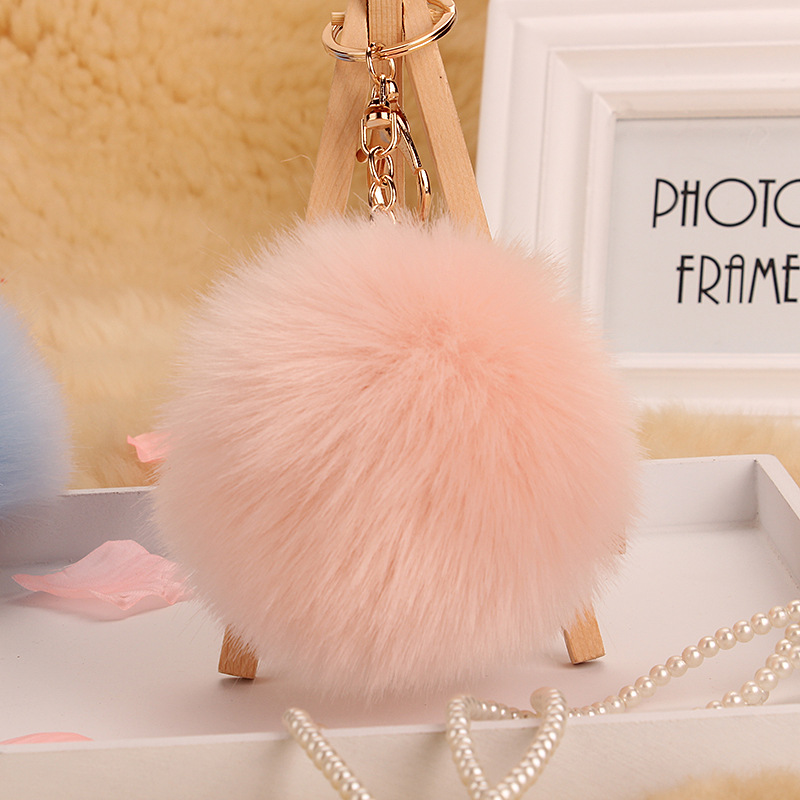 2017 new style fake Fur Pom Pom Key Chain Women Trinket  Car Key Ring  Keychain Jewelry Gift fluffy keychain on bag
