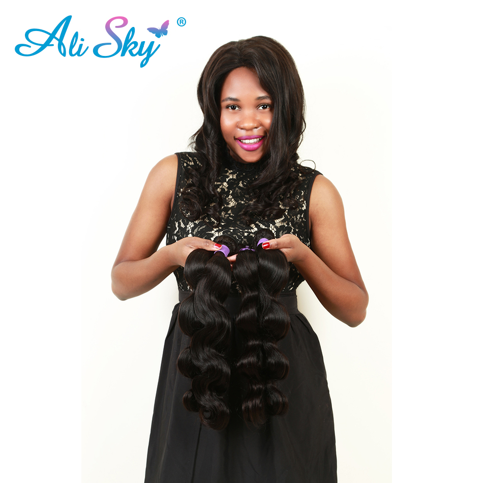 Ali Sky Brazilian Body Wave Remy Hair Weave 1pc 8 26 100% Human Hair Extensions Double Strong Weft Natural Black 1B# thick