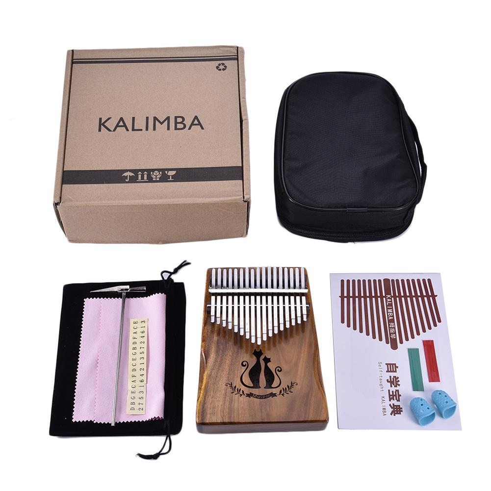 Muspor 17 Keys Wooden Kalimba Solid Acacia Thumb Piano Finger Percussion Music Gift Cat Pattern With Bag Gift цены