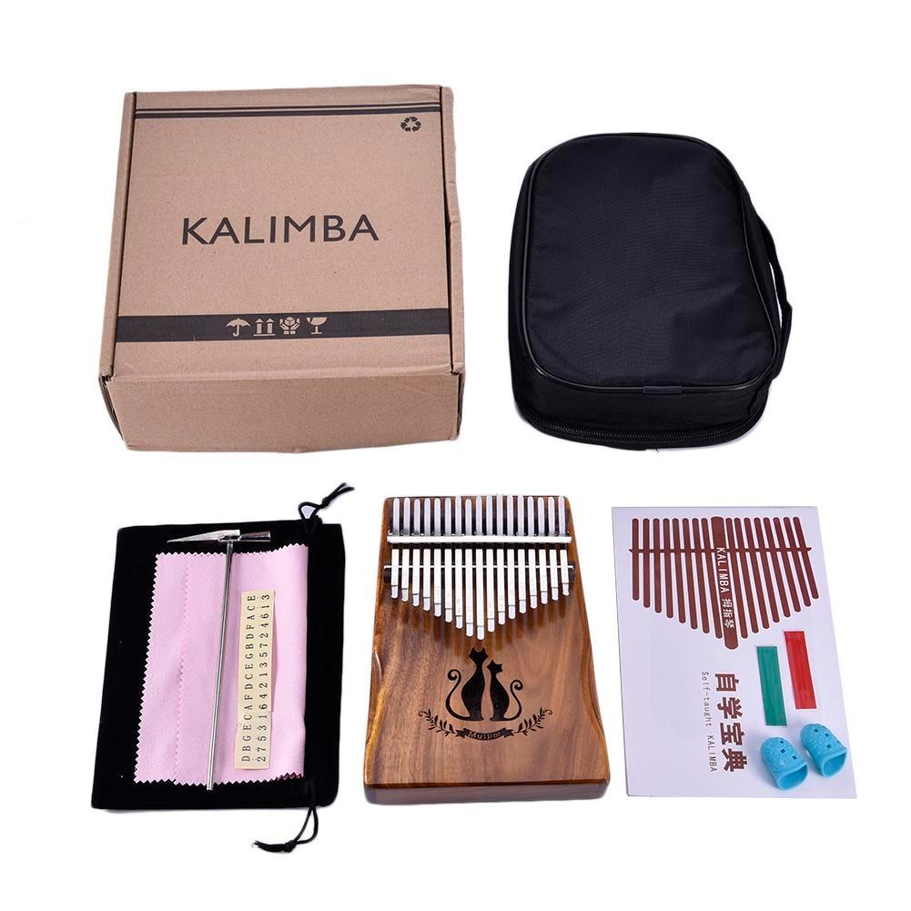 Muspor 17 Keys Wooden Kalimba Solid Acacia Thumb Piano Finger Percussion Music Gift Cat Pattern With Bag Gift велосипедная корзина acacia mtb 5 5 bl bag acacia