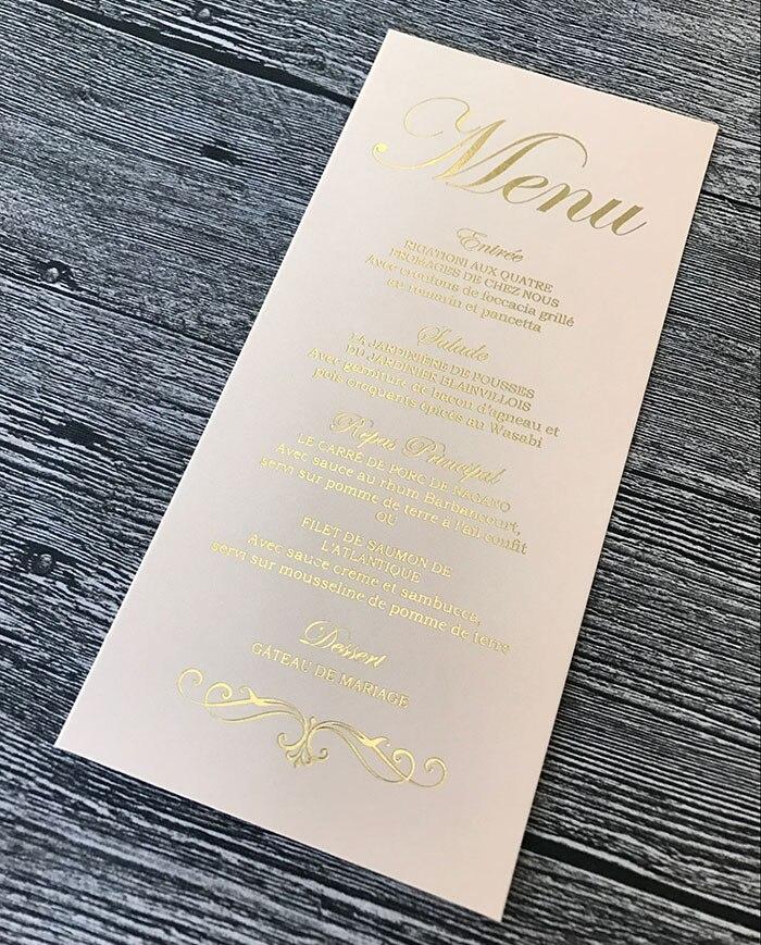ME02 Customized Gold Foil Print Flat Tall Wedding Menu Card
