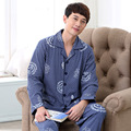Alta Qualidade 2016 Conjuntos de Homens de Pijama 100% Algodão Primavera e No Outono Masculino Pijamas da Longo-Luva O Pescoço Cardigan Salão Sono Set 039