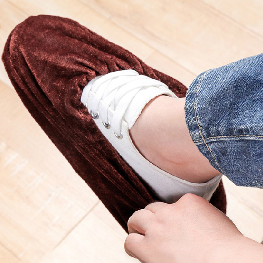 2PCS Household Indoor Washable Fluff Non-Woven Wear-Resistant Thickening Dust Cover Slip Resistant Breathable Shoe Cover