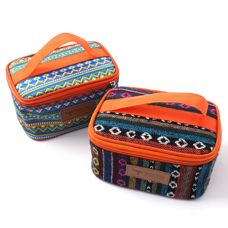 Ethnic Style Storage Bag Outdoor Camping Cooking Seasoning Can Package Bag Waterproof Travel Makeup Women Cosmetic Bags 1 L
