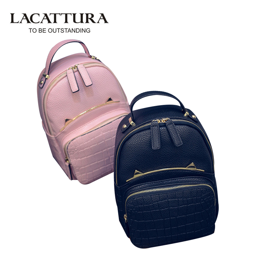LACATTURA PU Leather Girl Backpack School Bag For Teenager Small Rivet Top-handle Women Bag Mickey ears Feminina Herald Fashion рюкзак girl pu yt00172334