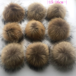 Image 5 - 50pcs/ lot DIY 13 14cm Real Raccoon Fur Pompoms Fur balls for knitted beanies keychain and scarves shoes Real fur pom Wholesale