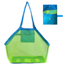 Beach Mesh Bag Beach Bag Foldable Toy Tote Swimming Bag For Travel Beach Waterpark Supermarket(China)