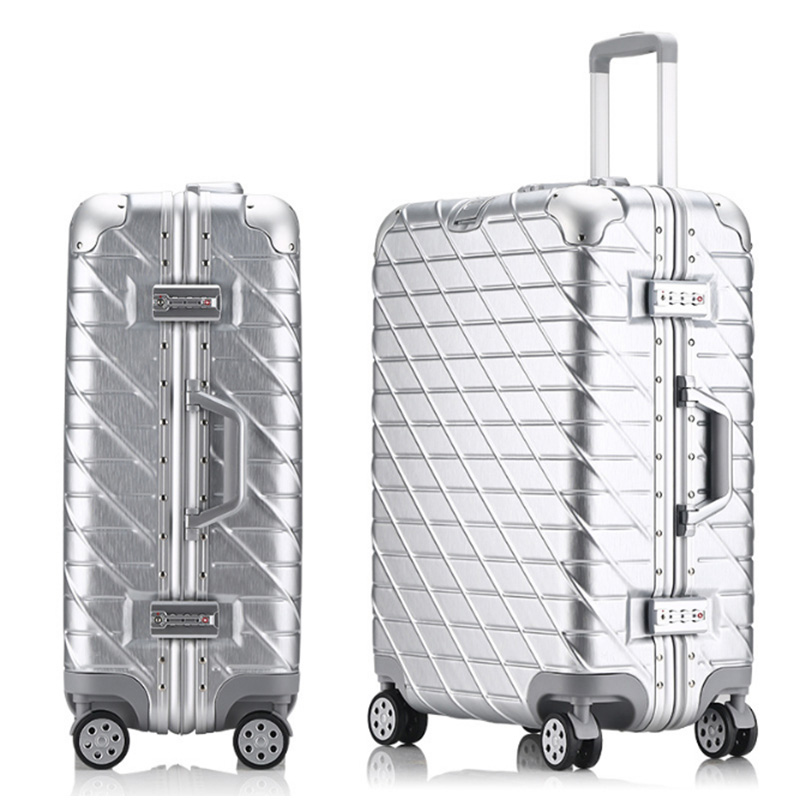 Retro Rolling Luggage Bag Brand Full Metal Travel Suitcase Original Women Trolley Luggage Boarding Box Aluminum Carry On Bag new fashion eva scooter rolling luggage women red trolley 20 boarding box men carry on travel bag student suitcase card trunk